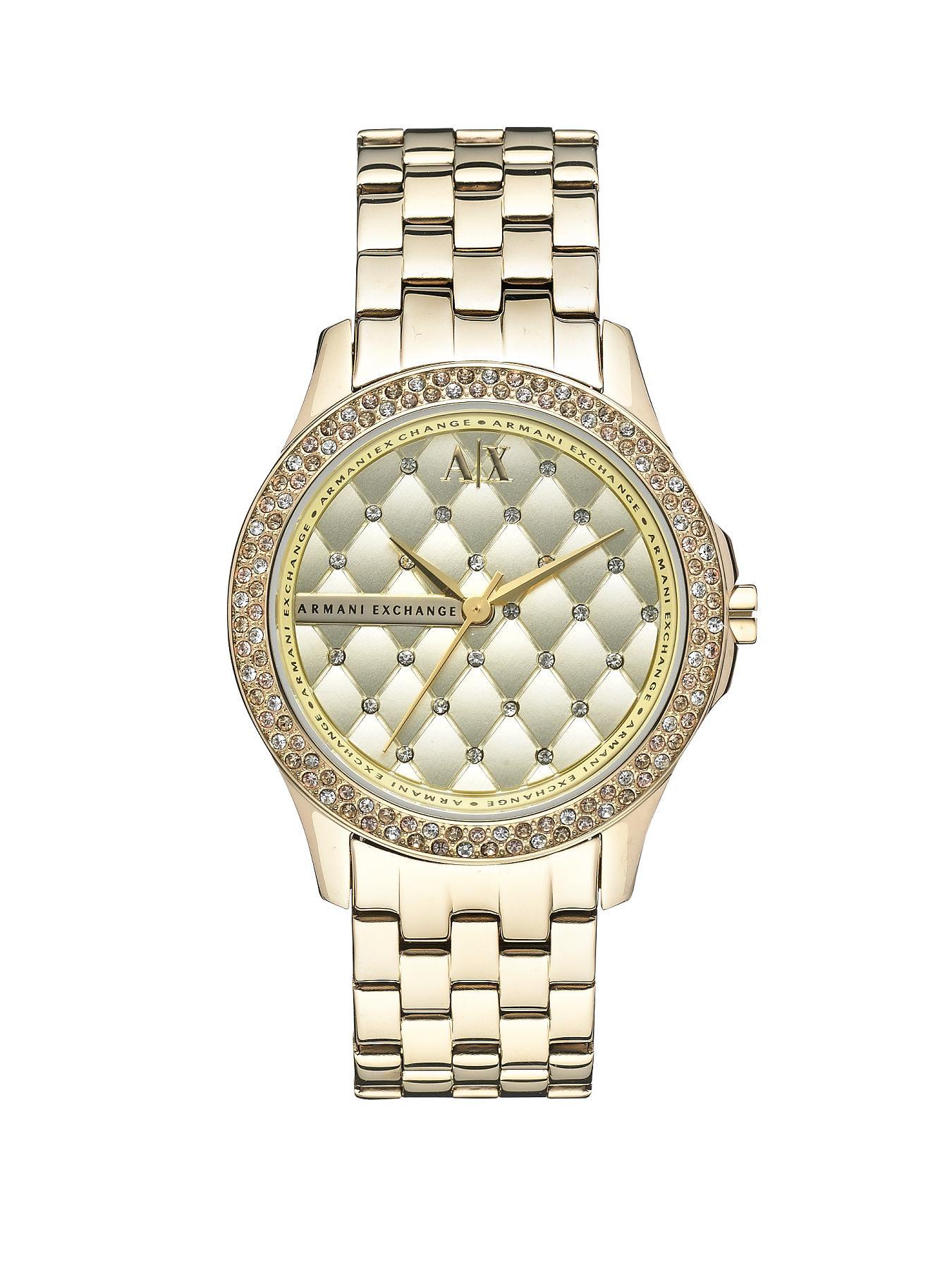 Gold Dial Gold IP Plated Bracelet Ladies Watch