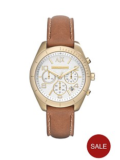 armani-exchange-silver-dial-and-gold-ip-plated-leather-strap-ladies-watch
