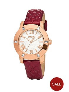 folli-follie-donatella-stone-set-rose-gold-plated-red-leather-strap-ladies-watch