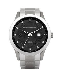 french-connection-stainless-steel-and-diamond-black-dial-mens-watch