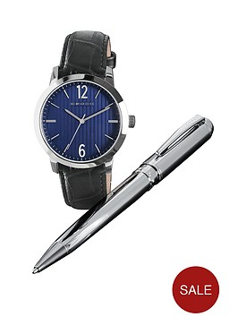 cross-black-leather-strap-mens-watch-and-pen-set