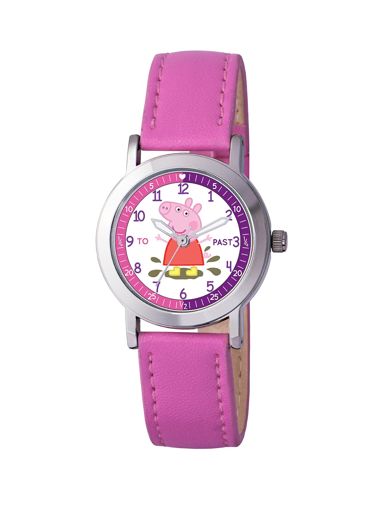 Time Teacher Pink PU Strap Girls Watch at Littlewoods