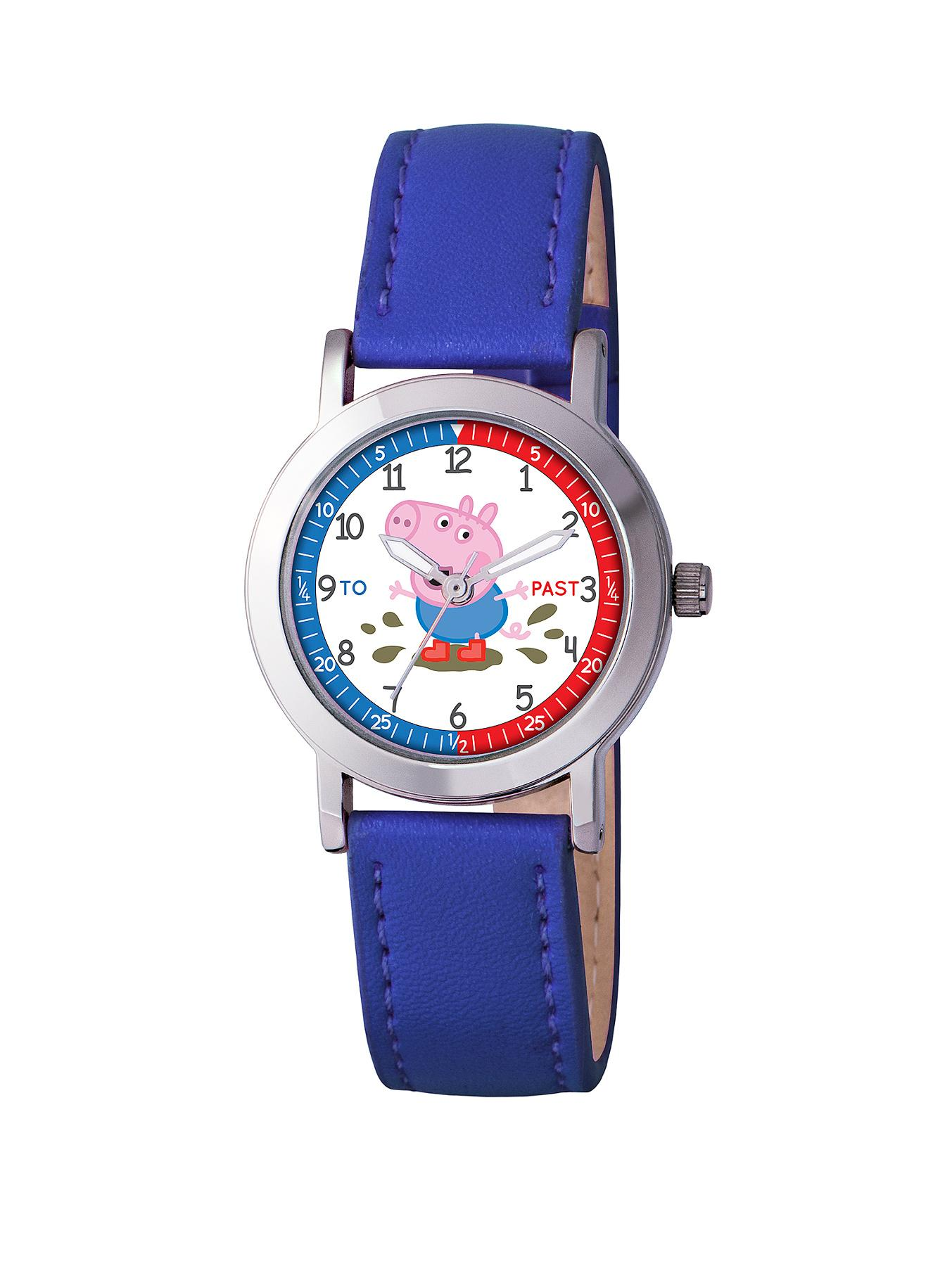 George The Time Teacher Blue PU Strap Boys Watch at Littlewoods