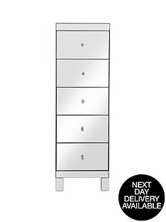 parisian-ready-assembled-mirrored-tall-chest-of-5-drawers-next-day-delivery