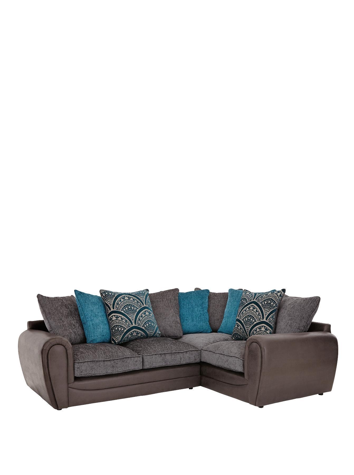 Gatsby Right-Hand Double-Arm Corner Group Sofa, Grey,Chocolate,Black