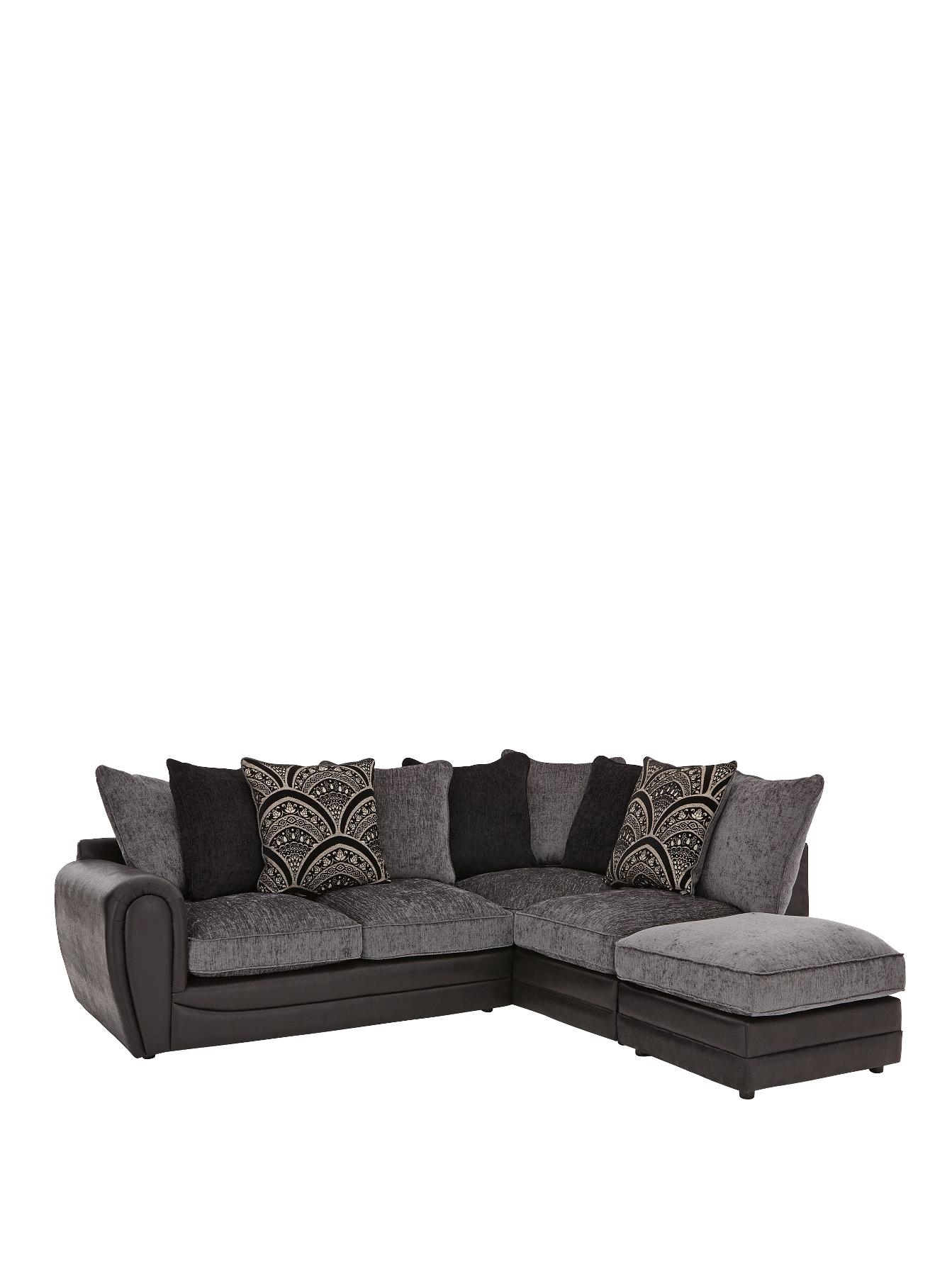 Gatsby Right Hand Single Arm Corner Chaise and Footstool, Grey,Black,Chocolate