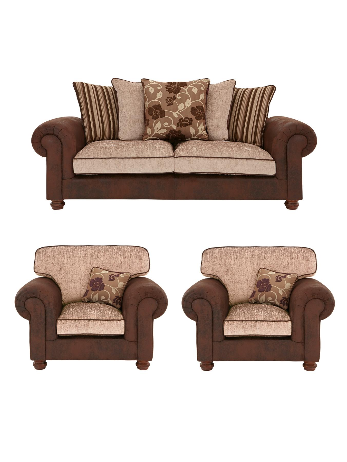 Astley 3-Seater Sofa + 2 Armchairs (Buy and SAVE!), Black,Chocolate at Littlewoods Home Shopping