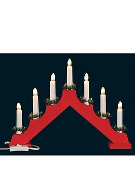 Wooden Christmas Candle Bridge  Red