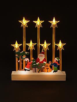 LED Candle Bridge with Santa Scene Christmas Decoration