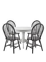 Kentucky White Dining Table + 4 Black Chairs