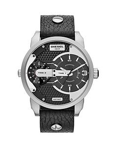 diesel-mini-daddy-stainless-steel-and-black-dial-with-black-leather-strap-unisex-watch