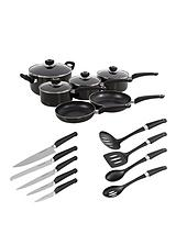 6-Piece Pan Set with 10-Piece Tool Set - Black