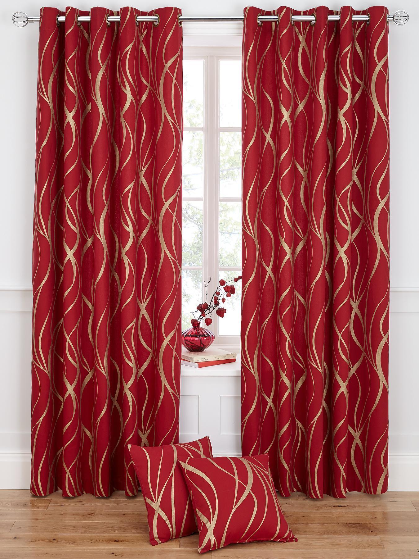 Metallic Swirl Printed Eyelet Curtains Black Chocolate Red