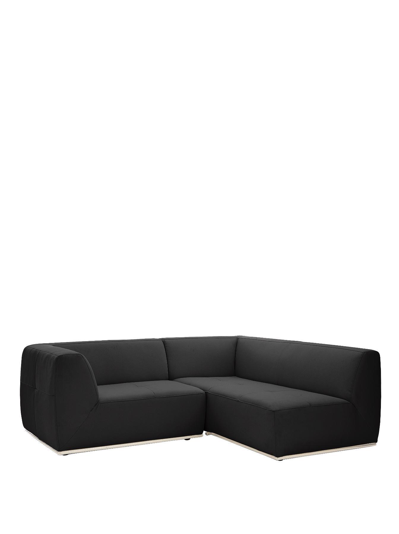 Boda Modular Regular Right Hand Faux Leather Corner Group Sofa BlackWhite