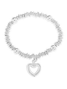 love-silver-sterling-silver-link-and-bead-stretch-bracelet-with-heart-charm