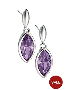 fiorelli-marquise-purple-cubic-zirconia-drop-earrings