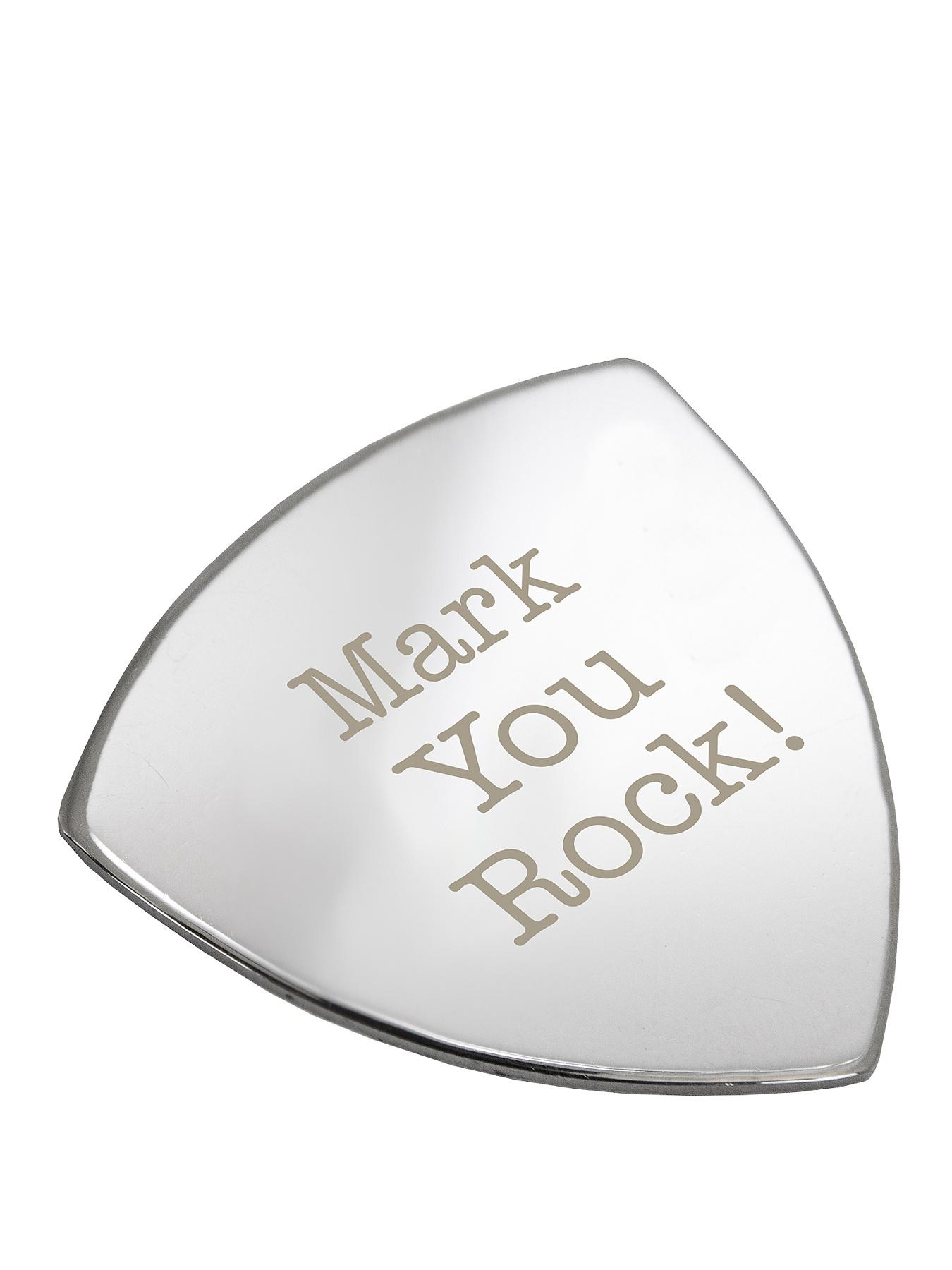 Personalised You Rock Silver Plated Guitar Plectrum at Littlewoods