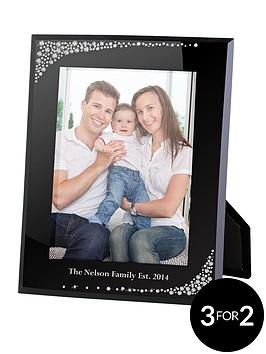 personalised-diamante-waterfall-black-glass-5-x-7-inch-photo-frame