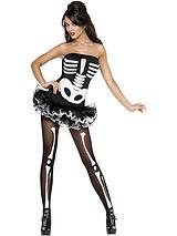 Halloween Fever Skeleton and Skeleton Tights - Adult Costume