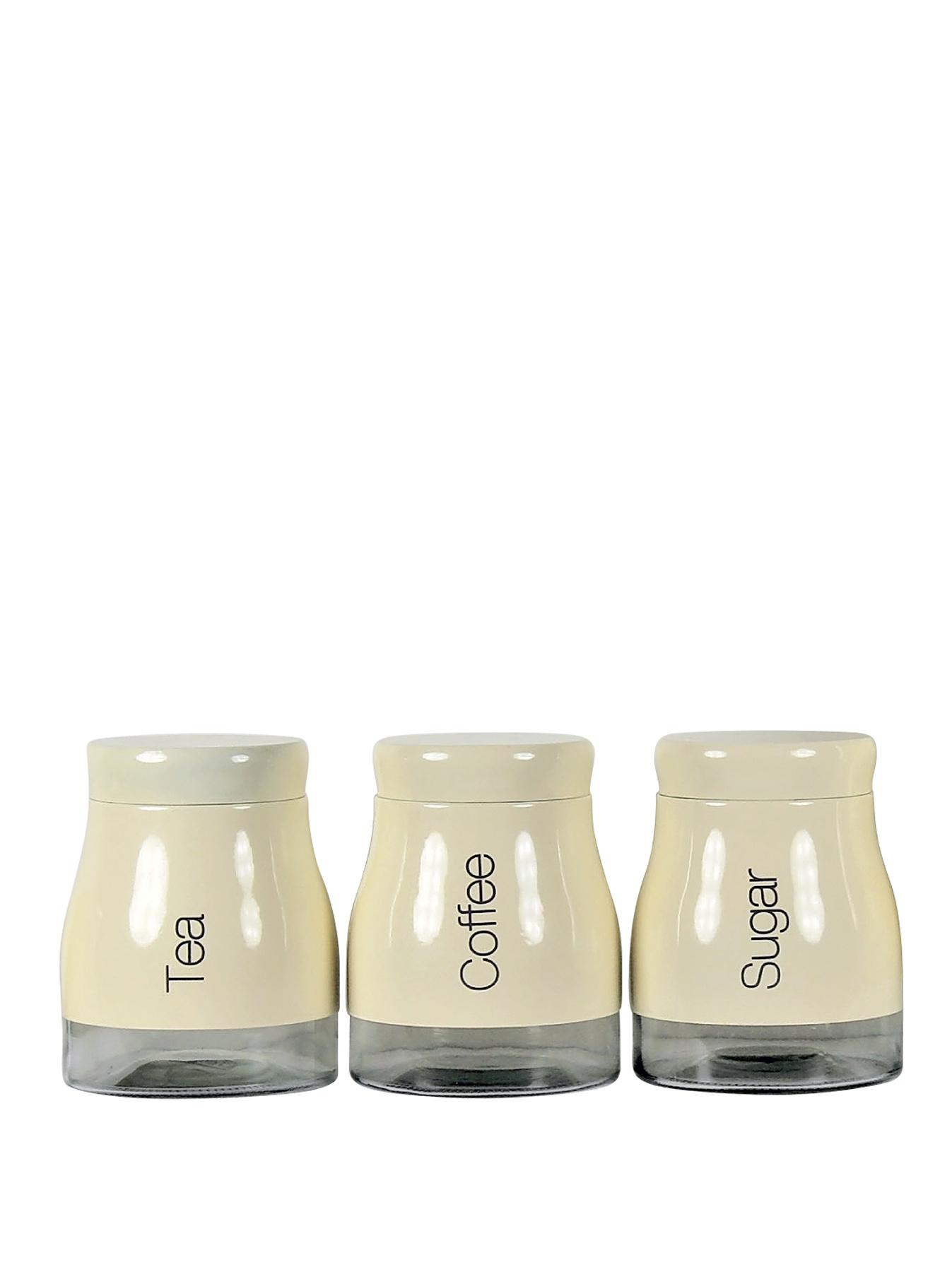 Cream 3 piece kitchen canister set cream for Cream kitchen set