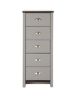 Consort Tivoli Ready Assembled 5Drawer Chest  GreyWalnutEffect