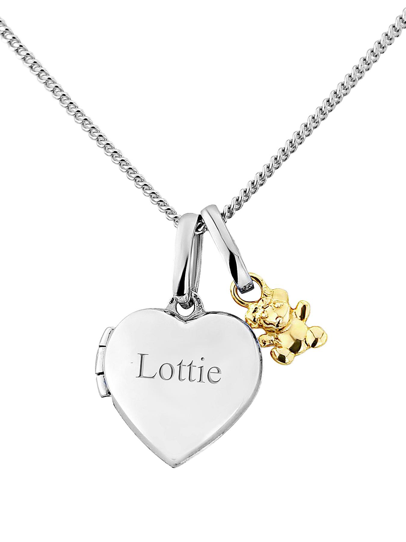 KeepSafe Teddy Personalised Childrens Locket (Sterling Silver and Gold)
