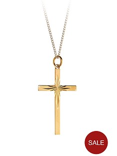 love-gold-9-carat-rolled-gold-diamond-cut-cross-pendant