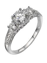 Sterling Silver White Cubic Zirconia Trilogy Dress Ring