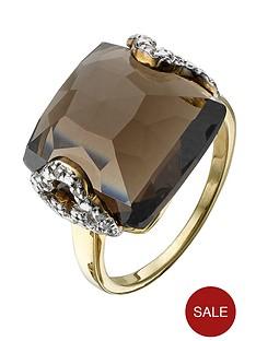 love-gem-9-carat-gold-plated-brass-6-point-diamond-and-smokey-quartz-dress-ring