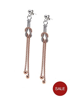 love-silver-sterling-silver-2-colour-italian-beaded-knot-chain-drop-earrings