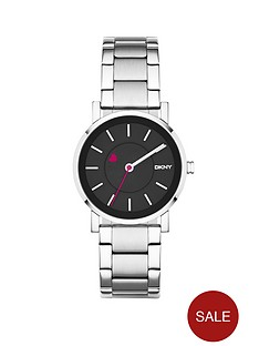 dkny-black-dial-and-pink-heart-hour-marker-stainless-steel-bracelet-ladies-watch