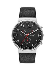 skagen-anchor-relaxed-stainless-steel-and-black-leather-strap-choronograph-mens-watch