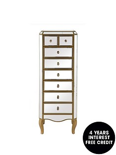 new-vintage-ready-assembled-mirrored-6-2-drawer-narrow-chest