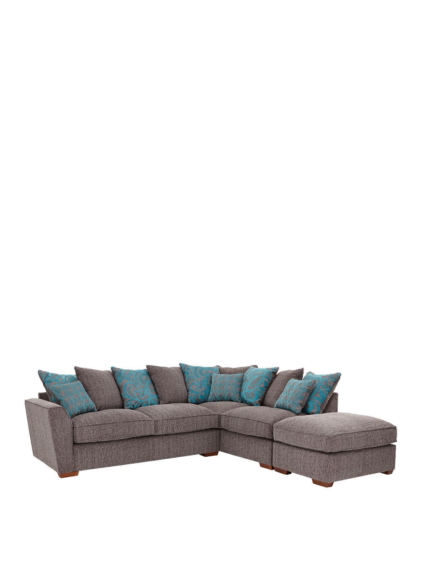 Newport Right Hand Corner Group Sofa with Footstool CharcoalGreyBeige