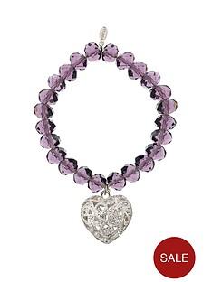 fiorelli-amethyst-bead-heart-charm-bracelet