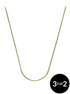 the-love-silver-collection-sterling-silver-and-9-carat-yellow-gold-bonded-chain-18-inch