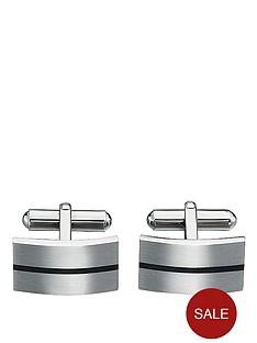 stainless-steel-brushed-cufflinks-with-black-enamel-stripe
