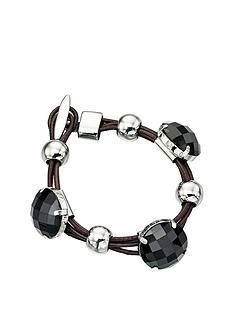 fiorelli-black-stone-leather-bracelet