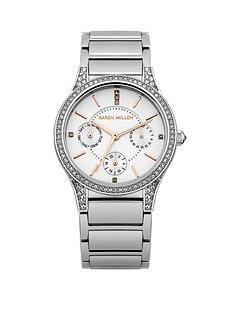 karen-millen-silver-tone-dial-stainless-steel-bracelet-ladies-watch