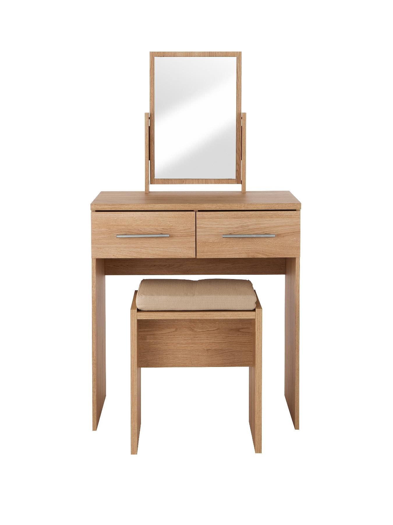 New Prague Dressing Table, Stool and Mirror Set, White,Black