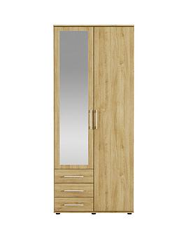 manhattan-2-door-3-drawer-mirrored-wardrobe