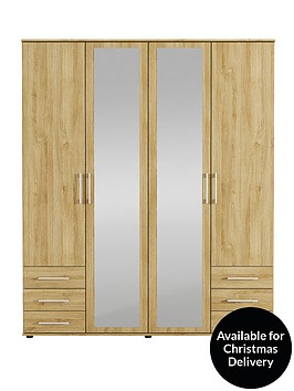 manhattan-4-door-6-drawer-mirrored-wardrobe