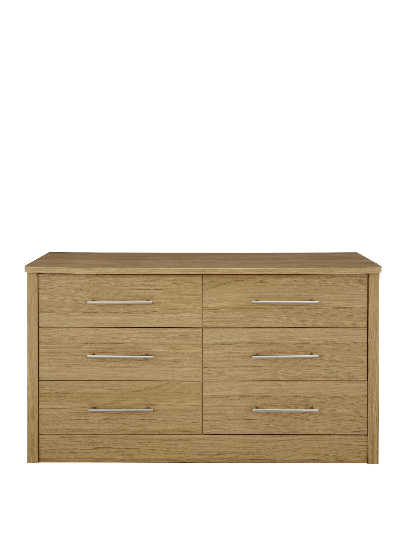 New Liberty Ready Assembled 3 + 3 Chest of Drawers, White,Black