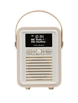 View Quest Retro Mini Radio Alarm Clock  Cream