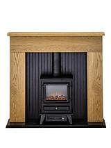 Innsbruck Oak Electric Fireplace Suite with Stove