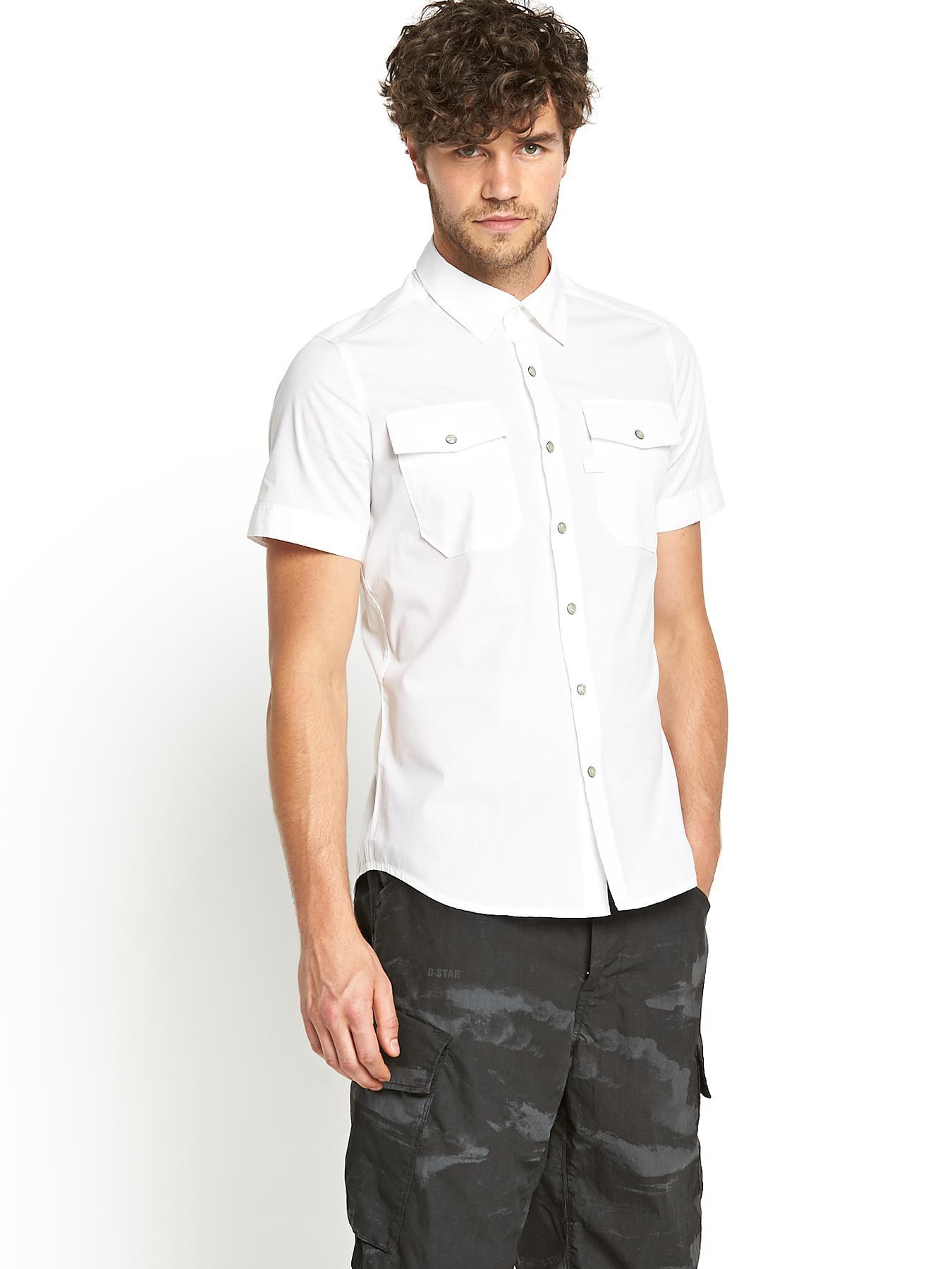 Landoh Mens Short Sleeve Shirt - White, White