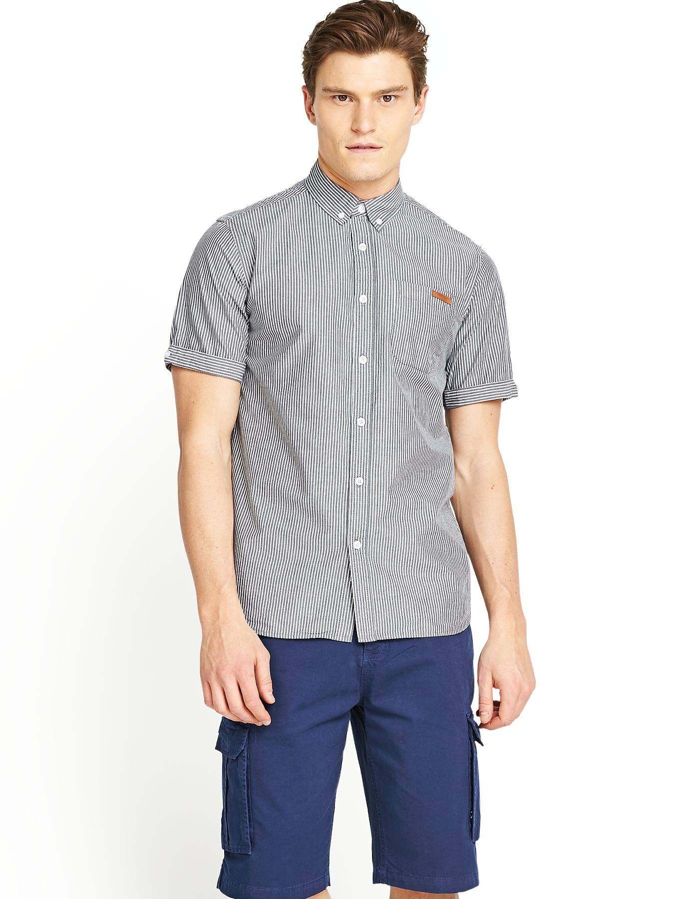 Mens Pelham Stripe Shirt - Charcoal, Charcoal