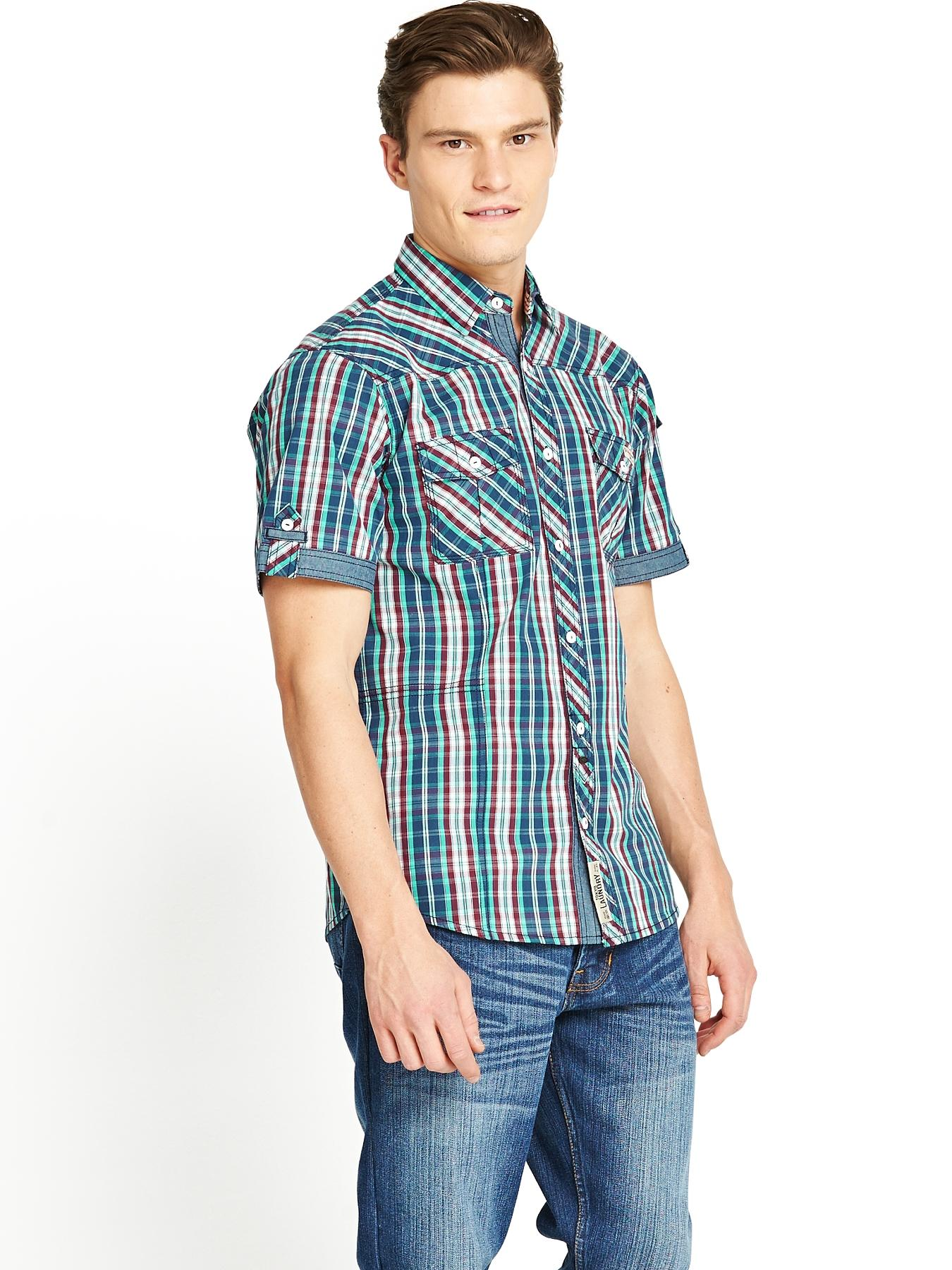 Mens Havana Check Shirt - Rumba Red, Red