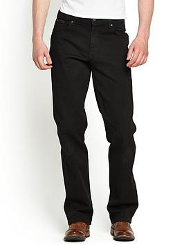 Wrangler Mens Texas Stretch Straight Jeans  Black