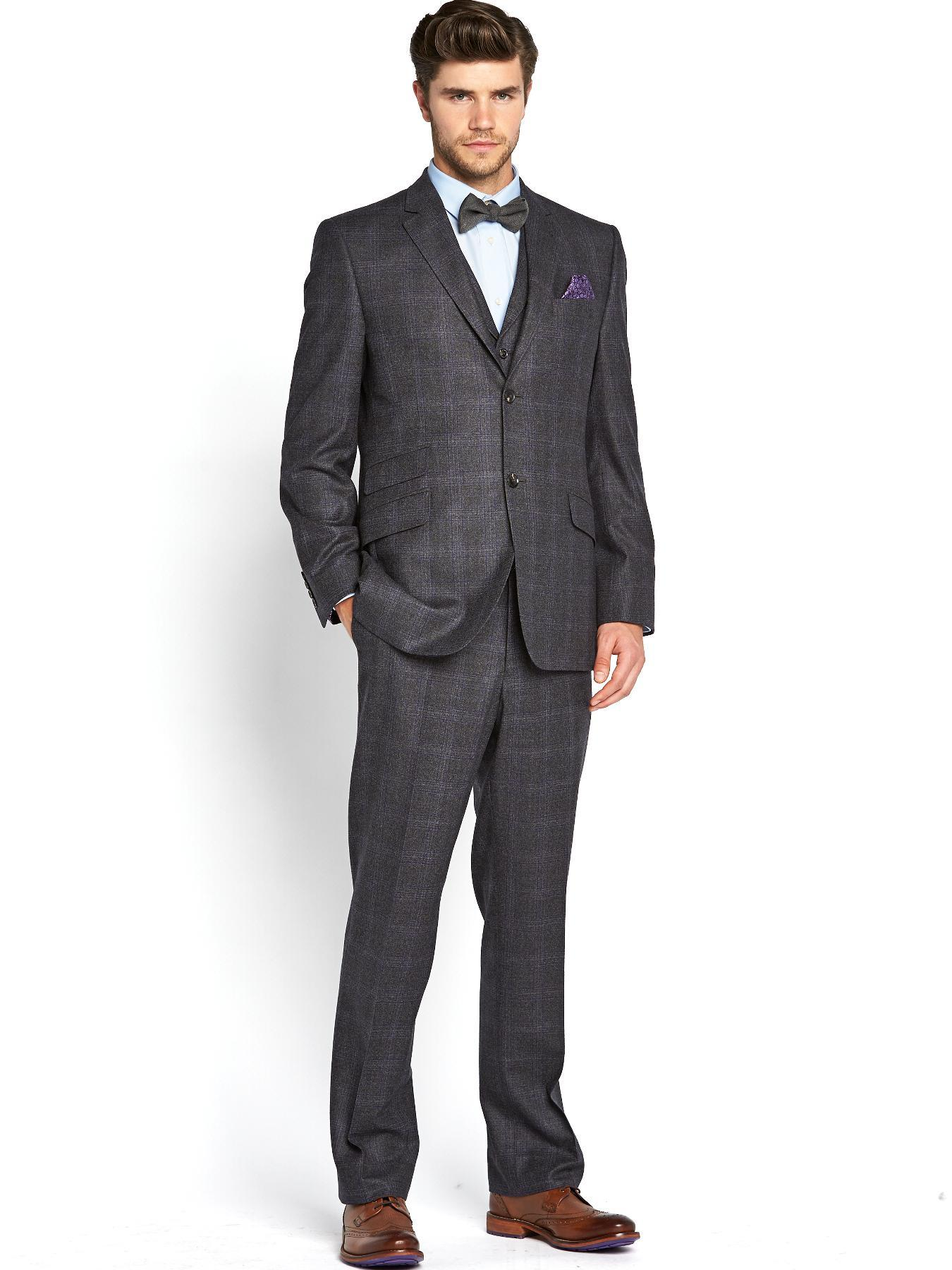 Mens Lashup Check 3 Piece Suit, Grey